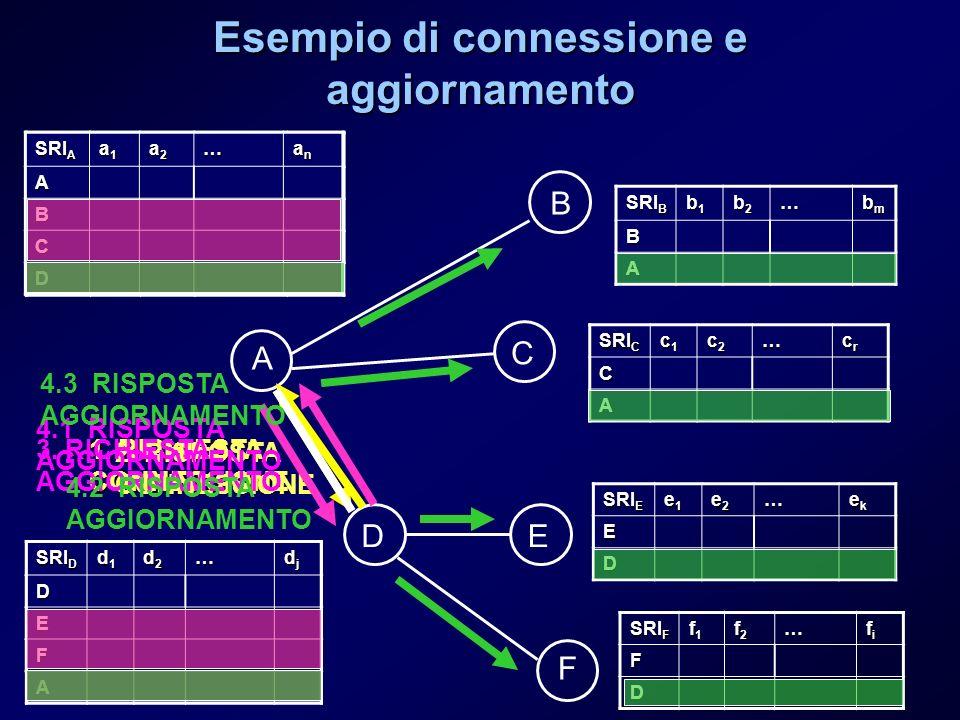 Esempio di connessione e aggiornamento A SRI D d1d1d1d1 d2d2d2d2… djdjdjdj D E F SRI B b1b1b1b1 b2b2b2b2… bmbmbmbmB A SRI C c1c1c1c1 c2c2c2c2… crcrcrc