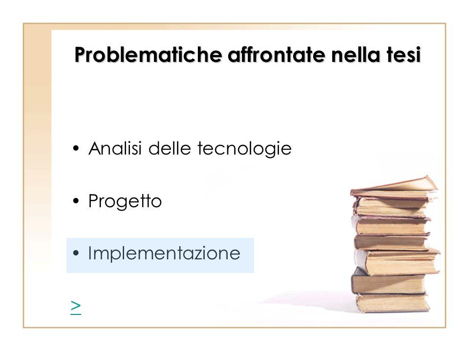 Problematiche affrontate nella tesi Analisi delle tecnologie Progetto Implementazione >