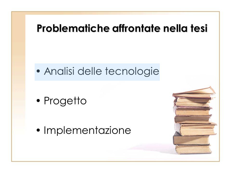 Problematiche affrontate nella tesi Analisi delle tecnologie Progetto Implementazione
