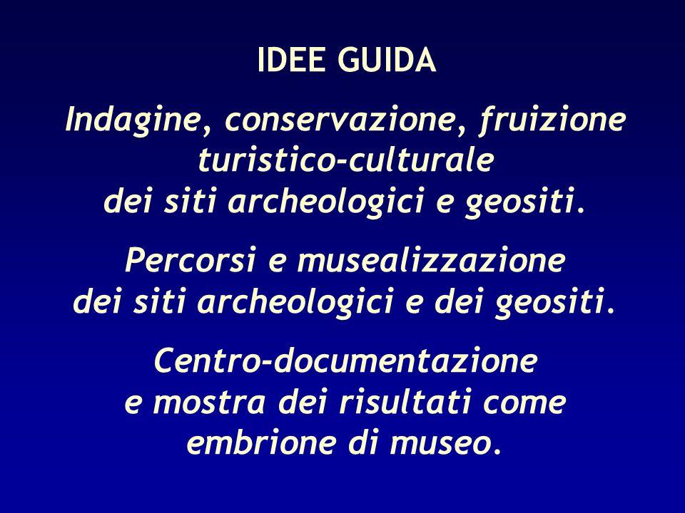 IDEE GUIDA Indagine, conservazione, fruizione turistico-culturale dei siti archeologici e geositi. Percorsi e musealizzazione dei siti archeologici e