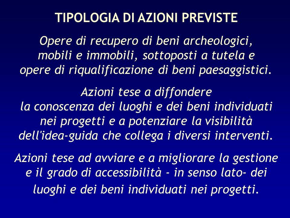 TIPOLOGIA DI AZIONI PREVISTE Opere di recupero di beni archeologici, mobili e immobili, sottoposti a tutela e opere di riqualificazione di beni paesag