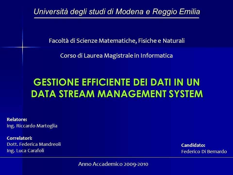 GESTIONE EFFICIENTE DEI DATI IN UN DATA STREAM MANAGEMENT SYSTEM Università degli studi di Modena e Reggio Emilia Facoltà di Scienze Matematiche, Fisi