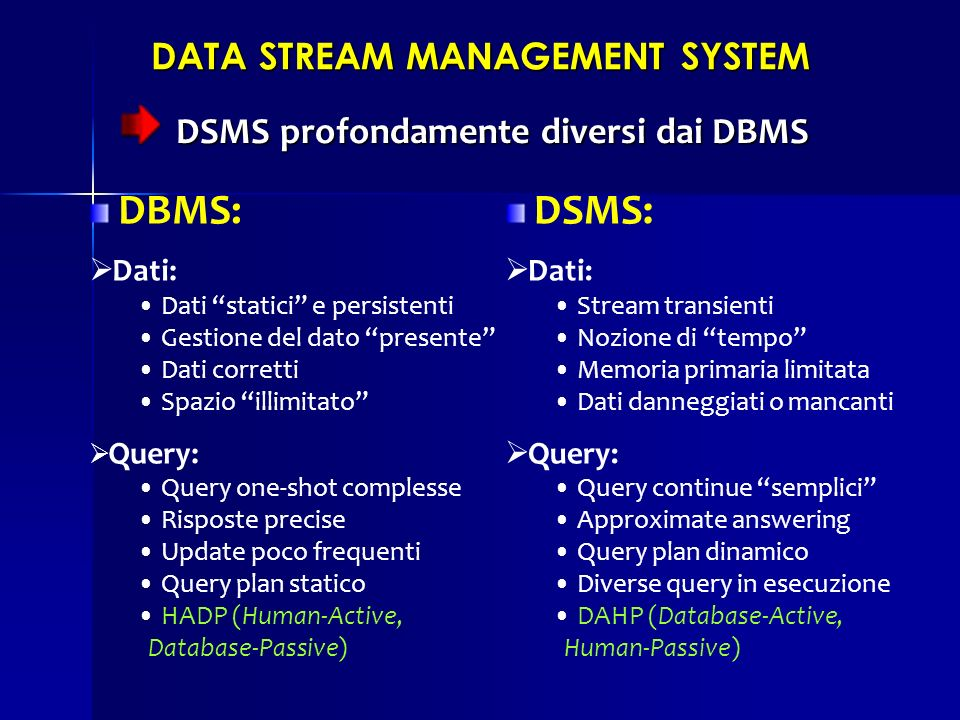 DSMS profondamente diversi dai DBMS DSMS profondamente diversi dai DBMS DATA STREAM MANAGEMENT SYSTEM DBMS: Dati: Dati statici e persistenti Gestione