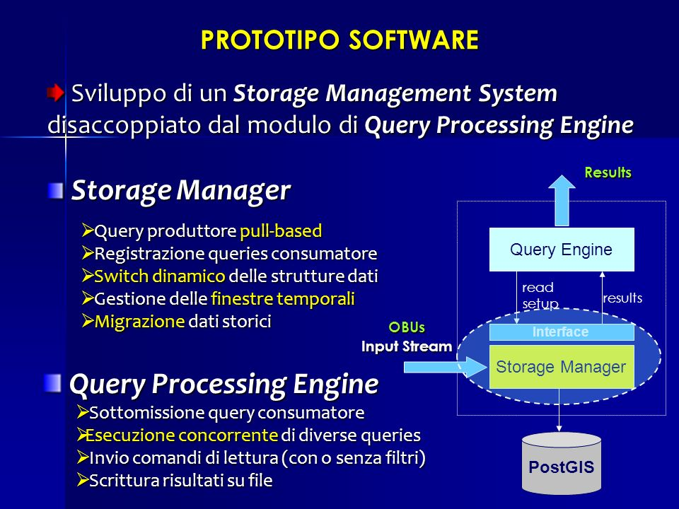 PROTOTIPO SOFTWARE Sviluppo di un Storage Management System disaccoppiato dal modulo di Query Processing Engine Sviluppo di un Storage Management Syst
