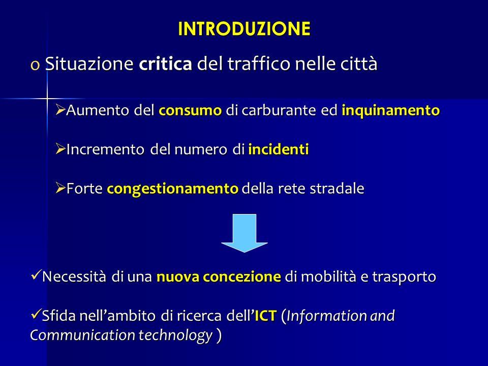 INTRODUZIONE Situazione critica del traffico nelle città o Situazione critica del traffico nelle città Aumento del consumo di carburante ed inquinamen