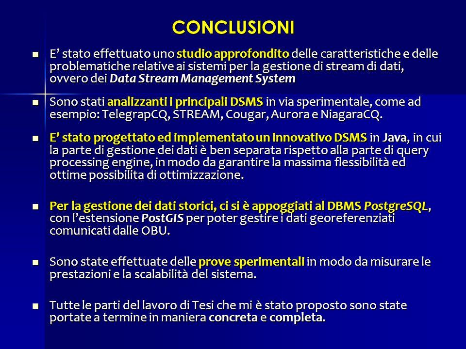 CONCLUSIONI E stato effettuato uno studio approfondito delle caratteristiche e delle problematiche relative ai sistemi per la gestione di stream di da