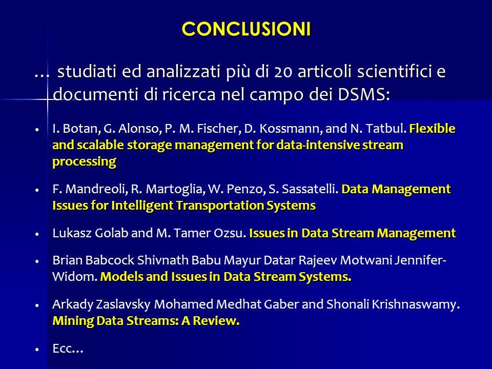 CONCLUSIONI … studiati ed analizzati articoli scientifici e documenti di ricerca nel campo dei DSMS: … studiati ed analizzati più di 20 articoli scien