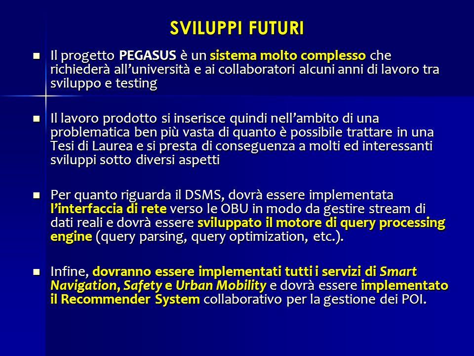 SVILUPPI FUTURI Il progetto PEGASUS è un sistema molto complesso che richiederà alluniversità e ai collaboratori alcuni anni di lavoro tra sviluppo e