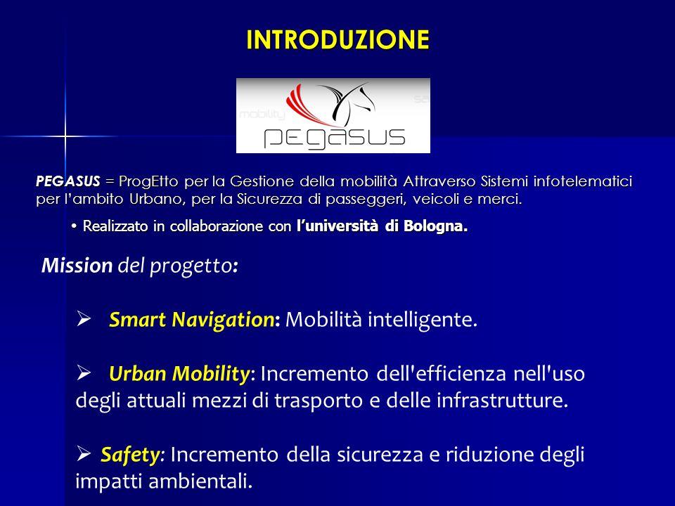 INTRODUZIONE Mission del progetto: Smart Navigation: Mobilità intelligente. Urban Mobility: Incremento dell'efficienza nell'uso degli attuali mezzi di
