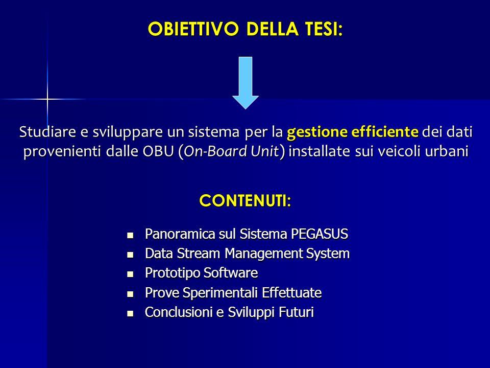 OBIETTIVO DELLA TESI: Studiare e sviluppare un sistema per la gestione efficiente dei dati provenienti dalle OBU (On-Board Unit) installate sui veicol