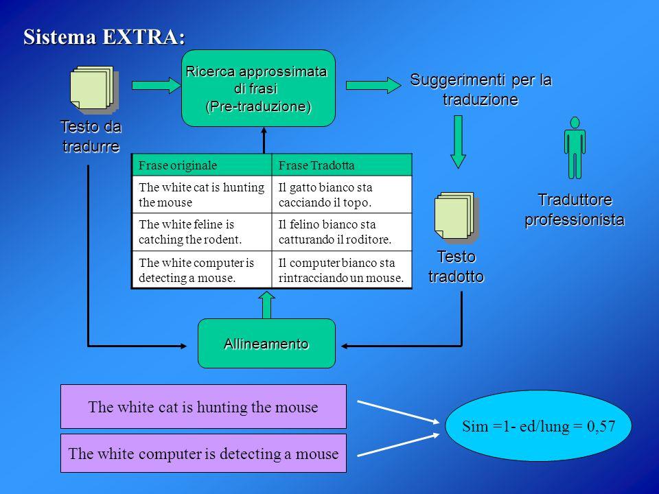 Sistema EXTRA: Ricerca approssimata di frasi (Pre-traduzione) Testo da tradurre Suggerimenti per la traduzione Allineamento Testo tradotto Traduttore