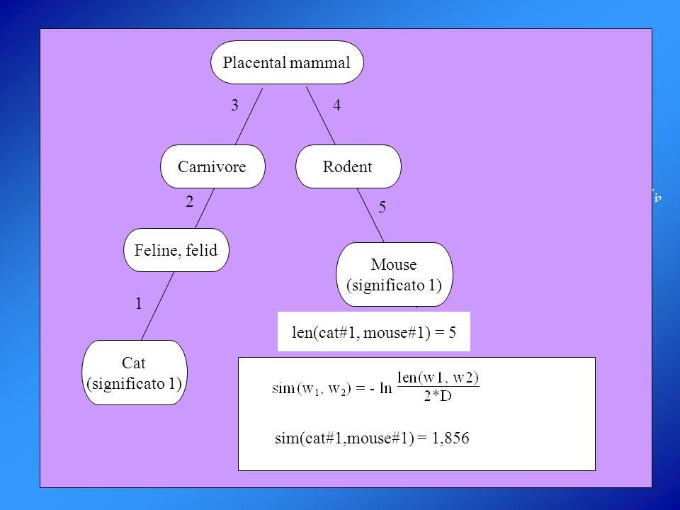 ALGORITMO DI WORD SENSE DISAMBIGUATION DEI NOMI Dati: un insieme di nomi w 1, w 2, …, w n sim(w i, w j ) per ogni coppia di nomi c[i,j] = concetto minimo comune a w i e w j Si vuole determinare: φ(w,k) funzione che indica la confidenza con cui si può dire che la parola w ha il significato k PASSI se c[i,j] è un iperonimo di sense (w i, k) allora support[i,k] += v[i,j] normalization[i] += v[i,j]; normalization[j] += v[i,j]; calcolo della confidenza coppia di nomi w i e w j si determina v[i,j] = sim(w i, w j ) * G(d i – d j ) Il significato migliore di un nome è quello che ha il più alto valore di φ.