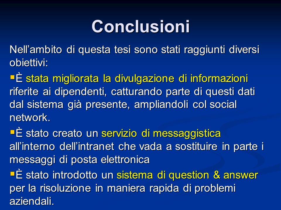 Conclusioni Nellambito di questa tesi sono stati raggiunti diversi obiettivi: È stata migliorata la divulgazione di informazioni riferite ai dipendent