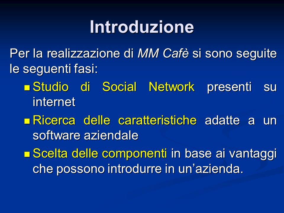 Introduzione Per la realizzazione di MM Cafè si sono seguite le seguenti fasi: Studio di Social Network presenti su internet Studio di Social Network