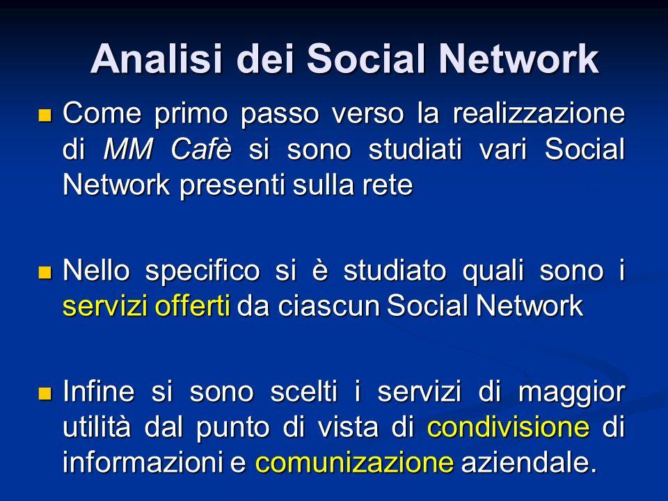 Come primo passo verso la realizzazione di MM Cafè si sono studiati vari Social Network presenti sulla rete Come primo passo verso la realizzazione di
