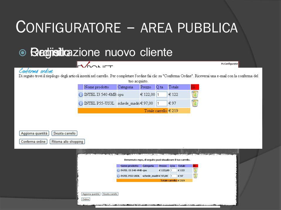 C ONFIGURATORE – AREA PUBBLICA Carrello Registrazione nuovo cliente Ordini