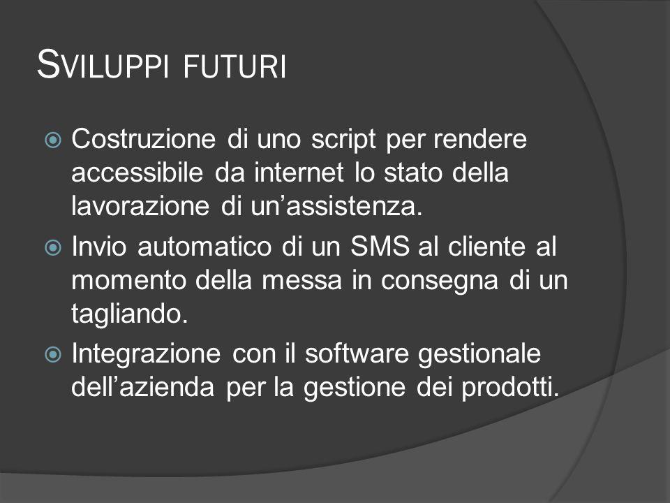 S VILUPPI FUTURI Costruzione di uno script per rendere accessibile da internet lo stato della lavorazione di unassistenza.