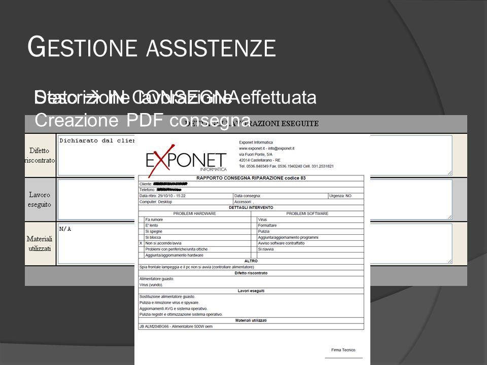 G ESTIONE ASSISTENZE Modifica PDF consegna