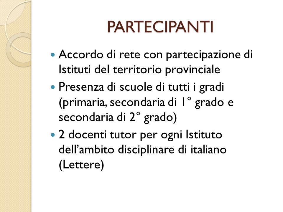 PARTECIPANTI Accordo di rete con partecipazione di Istituti del territorio provinciale Presenza di scuole di tutti i gradi (primaria, secondaria di 1° grado e secondaria di 2° grado) 2 docenti tutor per ogni Istituto dellambito disciplinare di italiano (Lettere)