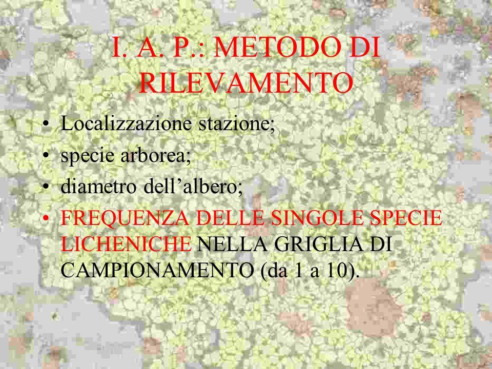 I. A. P.: METODO DI RILEVAMENTO Localizzazione stazione; specie arborea; diametro dellalbero; FREQUENZA DELLE SINGOLE SPECIE LICHENICHE NELLA GRIGLIA