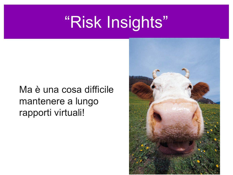 Risk Insights Ma è una cosa difficile mantenere a lungo rapporti virtuali!