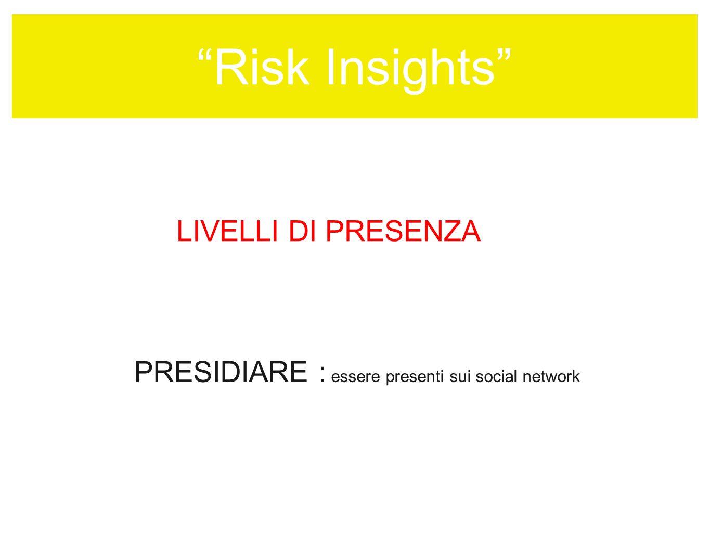 Risk Insights LIVELLI DI PRESENZA PRESIDIARE : essere presenti sui social network