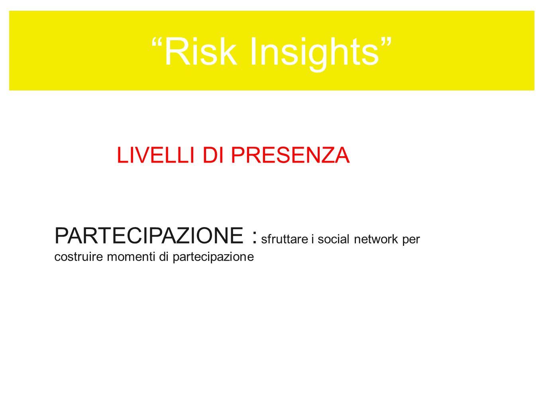 Risk Insights PARTECIPAZIONE : sfruttare i social network per costruire momenti di partecipazione LIVELLI DI PRESENZA
