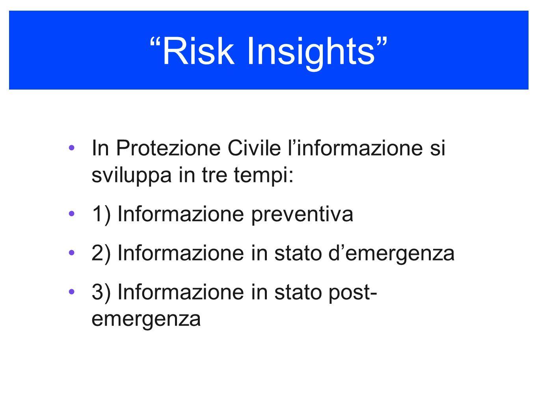 Risk Insights In Protezione Civile linformazione si sviluppa in tre tempi: 1) Informazione preventiva 2) Informazione in stato demergenza 3) Informazione in stato post- emergenza