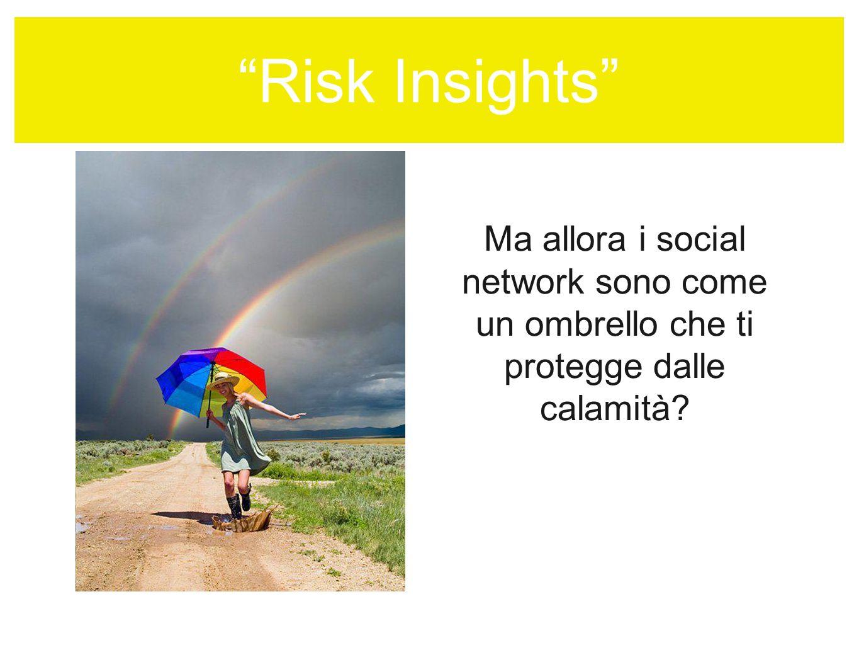 Risk Insights Ma allora i social network sono come un ombrello che ti protegge dalle calamità