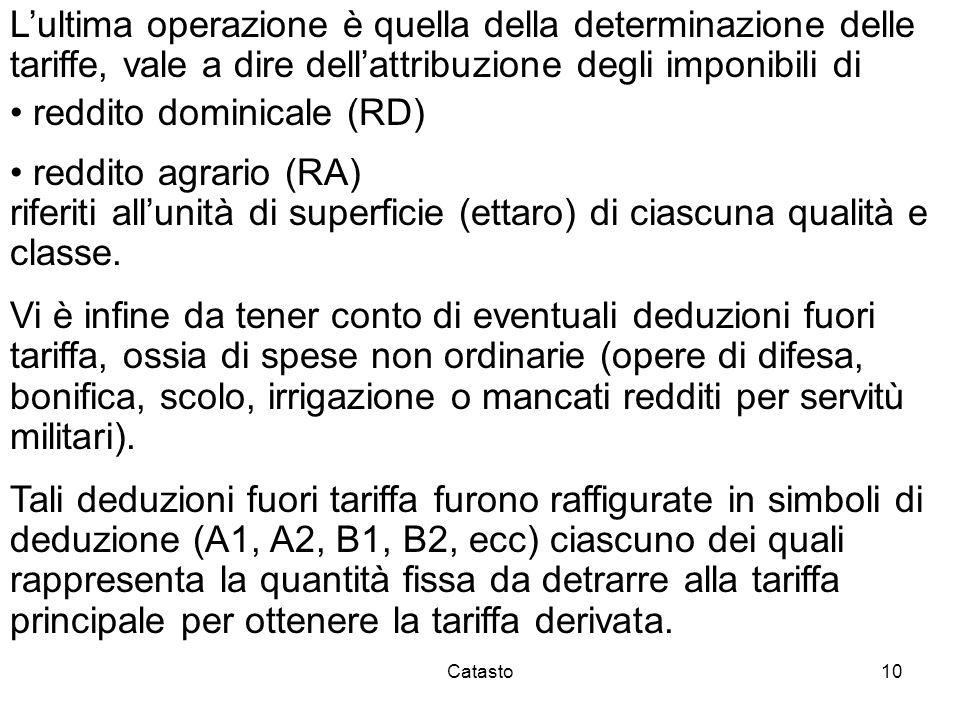Catasto10 Lultima operazione è quella della determinazione delle tariffe, vale a dire dellattribuzione degli imponibili di reddito dominicale (RD) red