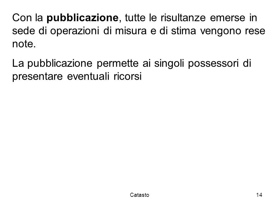 Catasto14 Con la pubblicazione, tutte le risultanze emerse in sede di operazioni di misura e di stima vengono rese note. La pubblicazione permette ai