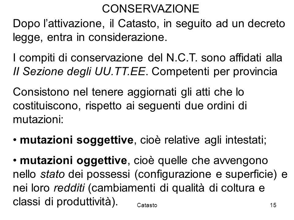 Catasto15 CONSERVAZIONE Dopo lattivazione, il Catasto, in seguito ad un decreto legge, entra in considerazione. I compiti di conservazione del N.C.T.
