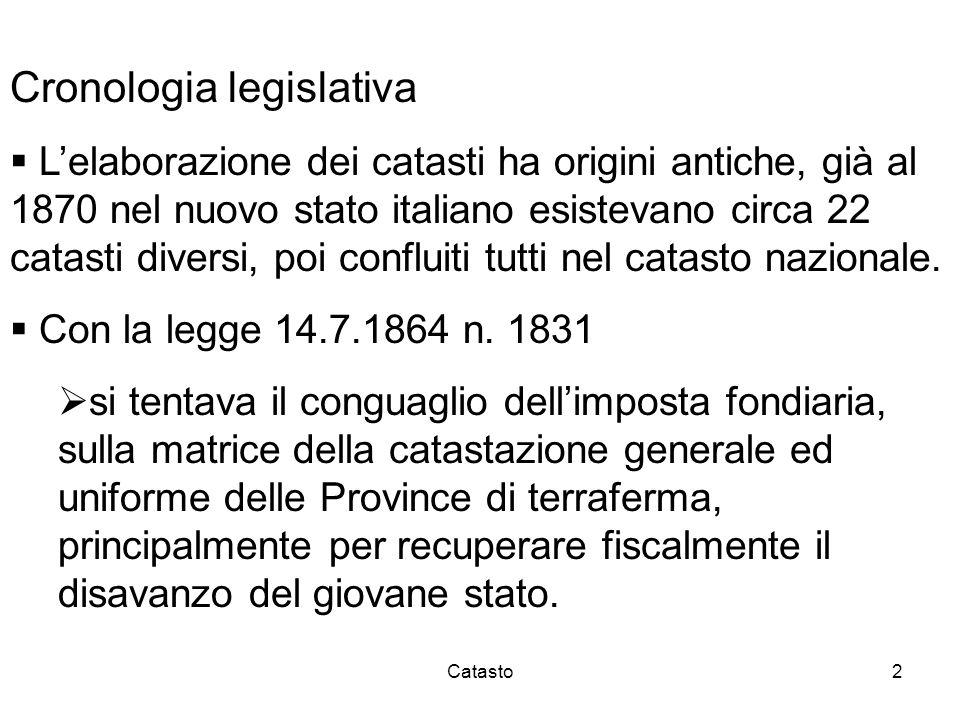 Catasto2 Cronologia legislativa Lelaborazione dei catasti ha origini antiche, già al 1870 nel nuovo stato italiano esistevano circa 22 catasti diversi