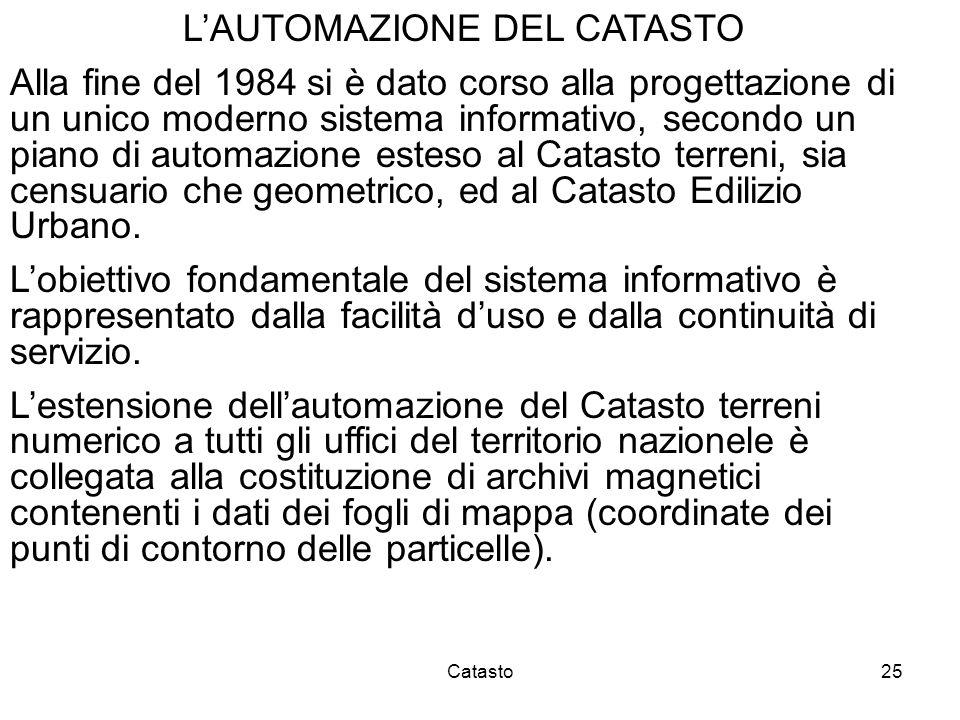 Catasto25 LAUTOMAZIONE DEL CATASTO Alla fine del 1984 si è dato corso alla progettazione di un unico moderno sistema informativo, secondo un piano di