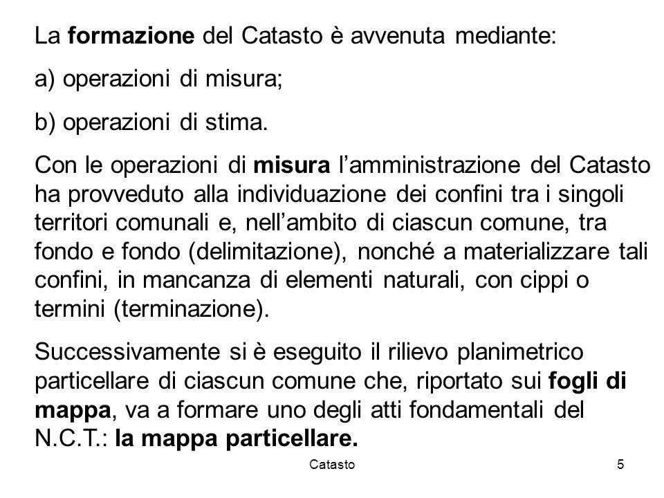 Catasto5 La formazione del Catasto è avvenuta mediante: a) operazioni di misura; b) operazioni di stima. Con le operazioni di misura lamministrazione