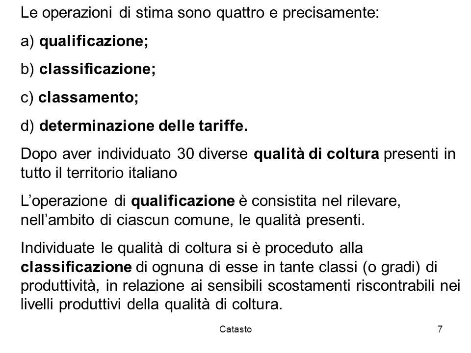 Catasto7 Le operazioni di stima sono quattro e precisamente: a) qualificazione; b) classificazione; c) classamento; d) determinazione delle tariffe. D