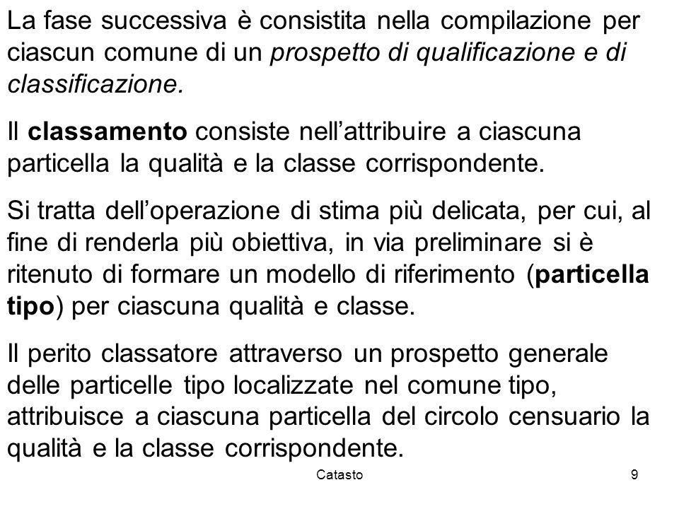 Catasto9 La fase successiva è consistita nella compilazione per ciascun comune di un prospetto di qualificazione e di classificazione. Il classamento