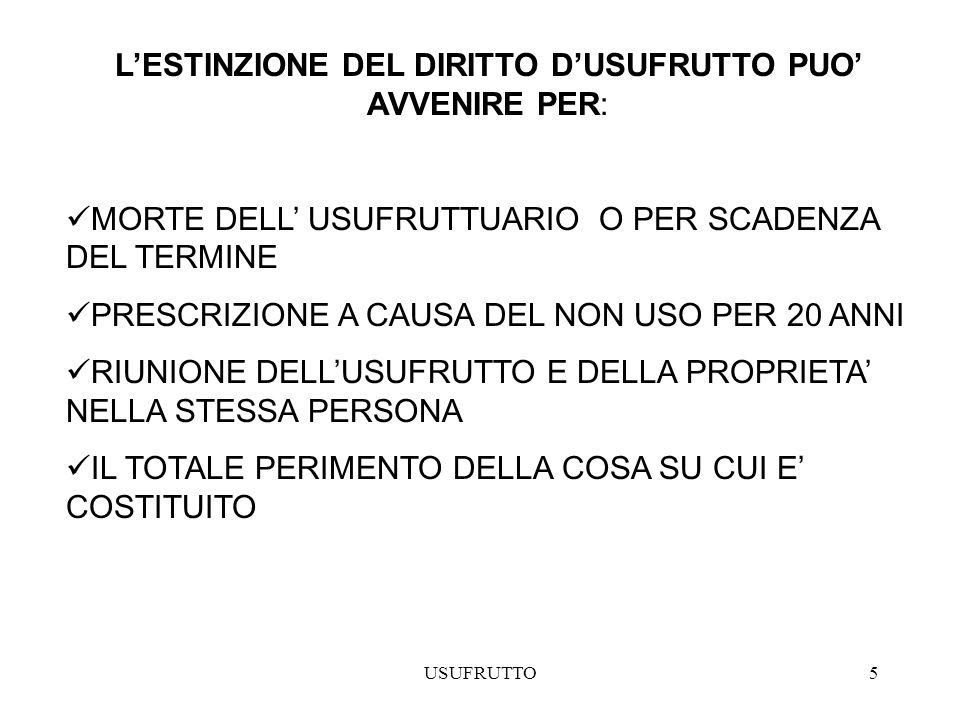 USUFRUTTO6 DETERMINAZIONE DEL VALORE DELLUSUFRUTTO IL VALORE DI TALE DIRITTO E UGUALE ALLACCUMULAZIONE INIZIALE DI TUTTI I REDDITI, AL NETTO DELLE SPESE, CHE SPETTANO ALLUSUFRUTTUARIO FINO ALLA FINE DEL DIRITTO DUSUFRUTTO Vu= valore del diritto dusufrutto Ru= reddito medio annuo derivante allusufruttuario per il godimento della cosa, al netto delle spese n = anni di durata dellusufrutto considerati dal momento della stima alla scadenza dellusufrutto r = saggio di attualizzazione