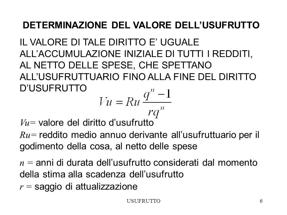 USUFRUTTO7 DETERMINAZIONE DEL VALORE DELLA NUDA PROPRIETA IL VALORE DELLA NUDA PROPRIETA ( Vnp) PUO ESSERE DETERMINATO ATTRAVESO DUE PROCEDIMENTI: 1) Vnp= differenza fra il valore di mercato del bene e Il valore dellusufrutto 2) Vnp= valore di mercato del bene scontato allattualità