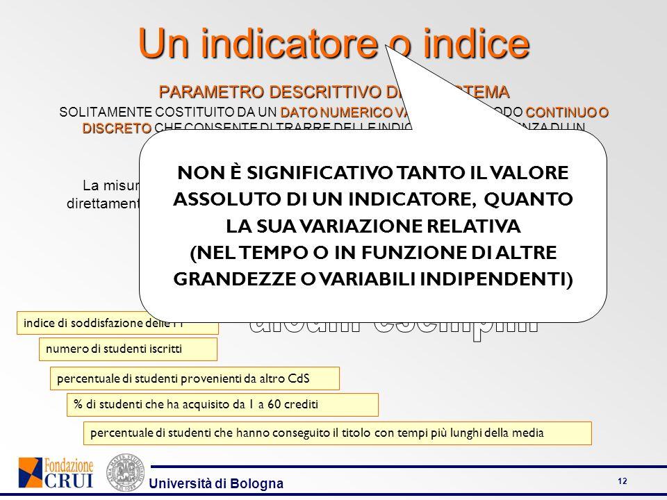 Università di Bologna 12 Un indicatore o indice PARAMETRO DESCRITTIVO DI UN SISTEMA DATO NUMERICO VARIABILECONTINUO O DISCRETO SOLITAMENTE COSTITUITO