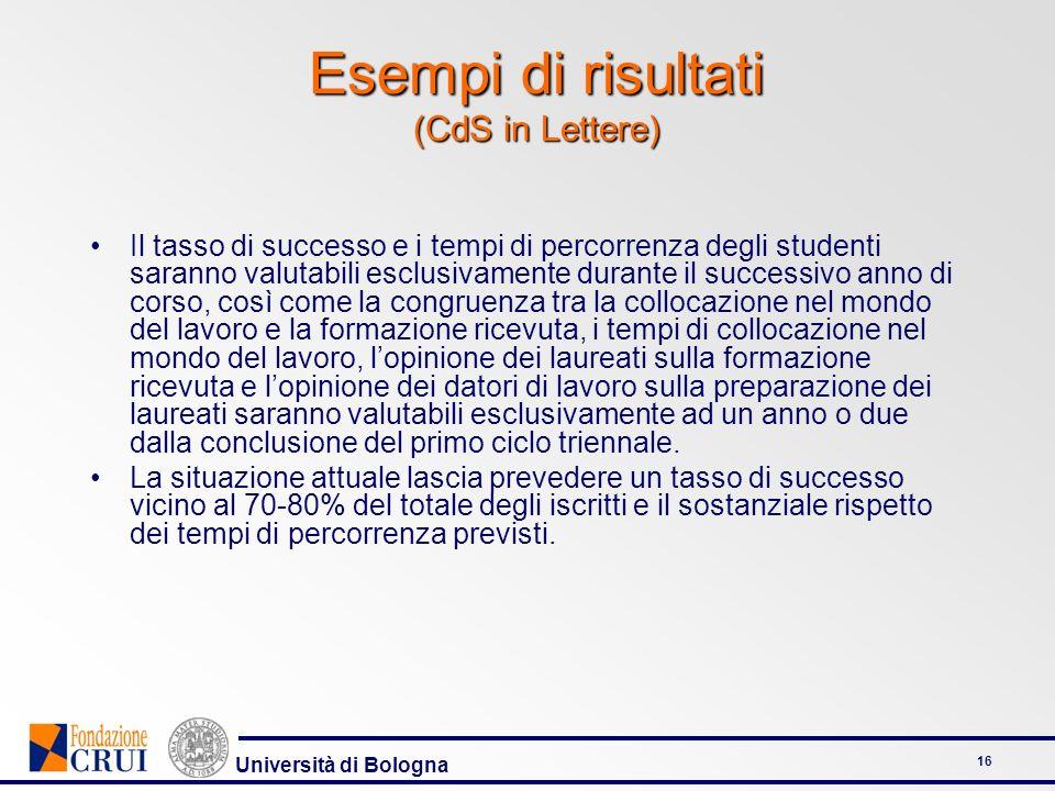 Università di Bologna 16 Il tasso di successo e i tempi di percorrenza degli studenti saranno valutabili esclusivamente durante il successivo anno di