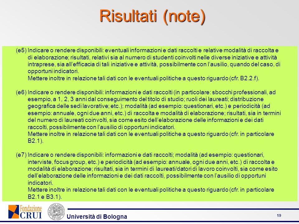 Università di Bologna 19 Risultati (note) (e5)Indicare o rendere disponibili: eventuali informazioni e dati raccolti e relative modalità di raccolta e