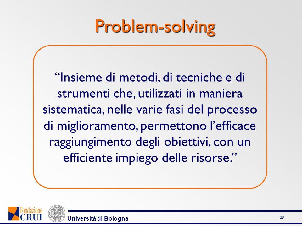 Università di Bologna 26 Problem-solving Problem-solving Insieme di metodi, di tecniche e di strumenti che, utilizzati in maniera sistematica, nelle v