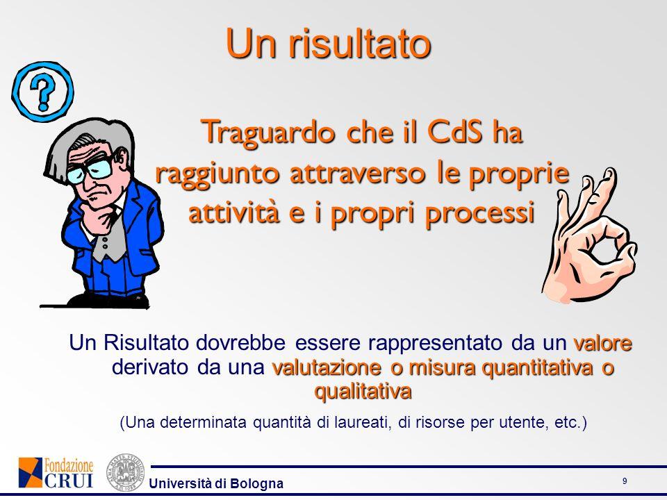 Università di Bologna 9 Un risultato valore valutazione o misura quantitativa o qualitativa Un Risultato dovrebbe essere rappresentato da un valore de