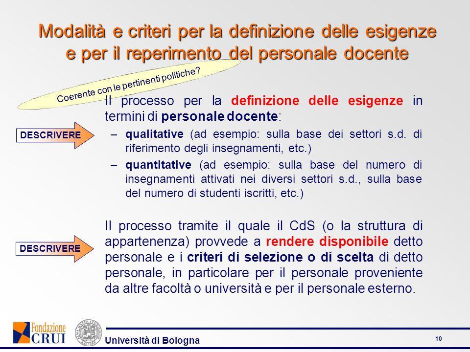 Università di Bologna 10 Coerente con le pertinenti politiche? Modalità e criteri per la definizione delle esigenze e per il reperimento del personale