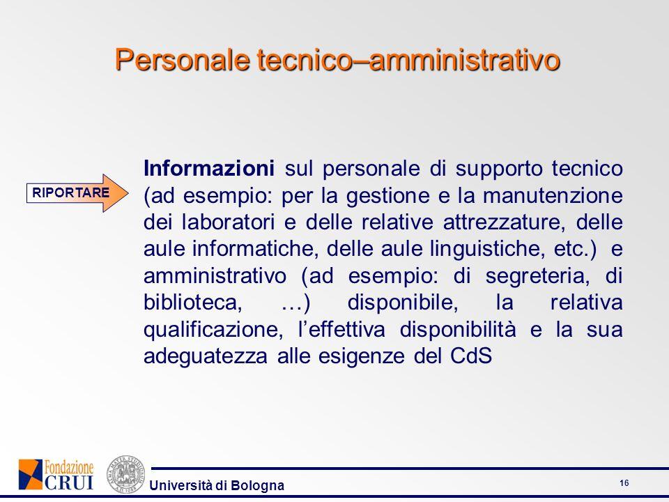Università di Bologna 16 Personale tecnico–amministrativo RIPORTARE Informazioni sul personale di supporto tecnico (ad esempio: per la gestione e la m