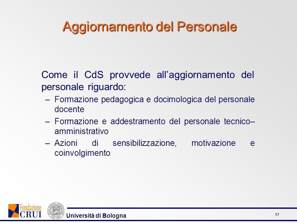Università di Bologna 17 Aggiornamento del Personale Come il CdS provvede allaggiornamento del personale riguardo: –Formazione pedagogica e docimologi