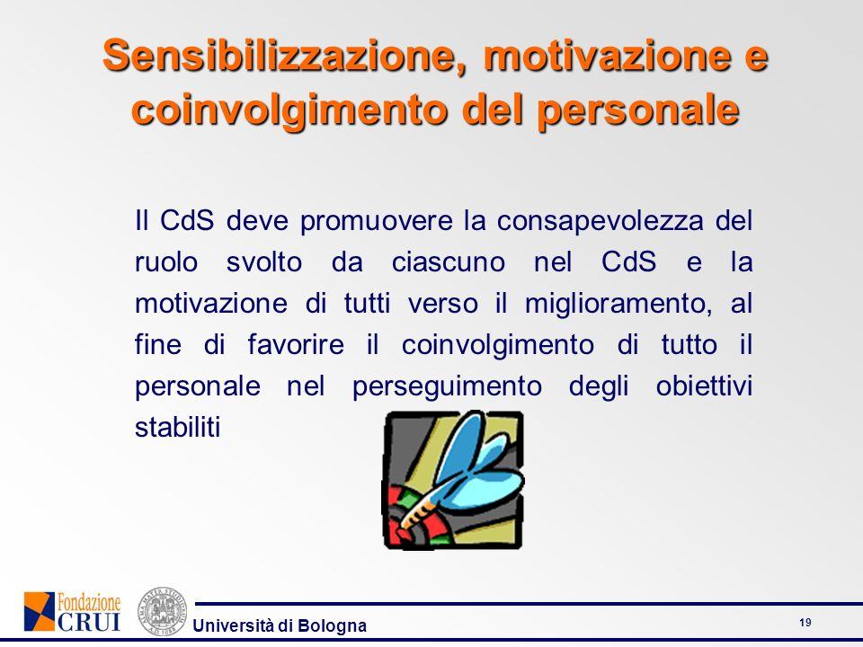 Università di Bologna 19 Sensibilizzazione, motivazione e coinvolgimento del personale Il CdS deve promuovere la consapevolezza del ruolo svolto da ciascuno nel CdS e la motivazione di tutti verso il miglioramento, al fine di favorire il coinvolgimento di tutto il personale nel perseguimento degli obiettivi stabiliti