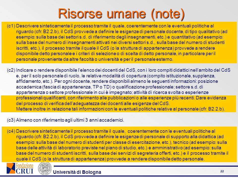 Università di Bologna 22 Risorse umane (note) (c1)Descrivere sinteticamente il processo tramite il quale, coerentemente con le eventuali politiche al