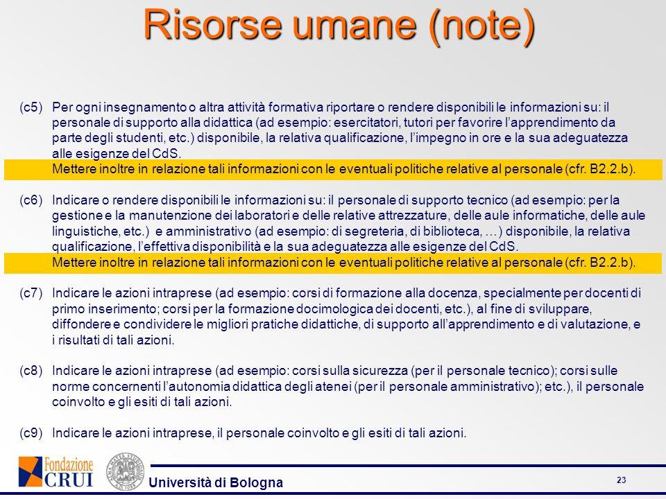 Università di Bologna 23 Risorse umane (note) (c5)Per ogni insegnamento o altra attività formativa riportare o rendere disponibili le informazioni su: